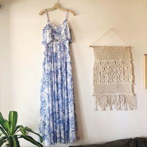 INA ENCHANTING BLUE & WHITE MAXI DRESS S